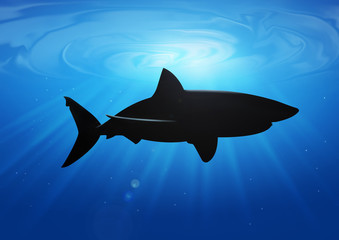 Stock illustration of a shark in deep blue sea