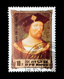North Korean stamp featuring British monarch Henry VIII poster