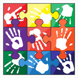 Handprint color vector puzzle