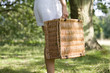 A woman carrying a picnic basket, close-up