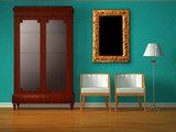 Cupboard with chairs and stand lamp with golden frame poster