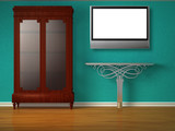 Cupboard with metallic table and flat tv in minimalist interior poster