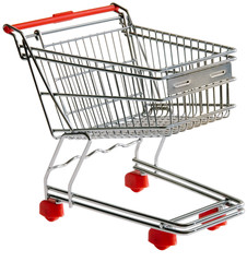 Shopping trolley isolated with clipping path