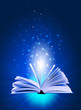 magic book on a blue background