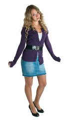 girl in a lilac shirt and jeans skirt