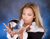 Young woman with crystal ball. Fortune Telling poster