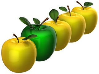 Leadership fruit. Yellow apples with single green one in a row