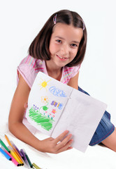 Nice young girl show her drawing