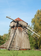 Antique wooden windmill at Pereiaslav-.Khmelnytskyi, Ukraine.