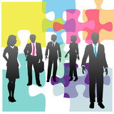 Business people human resources problem solution puzzle poster