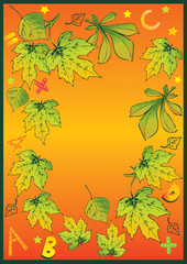 Beautiful frame of autumn leaves. Place for sample text.