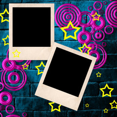Polaroid empty frames  on brick wall
