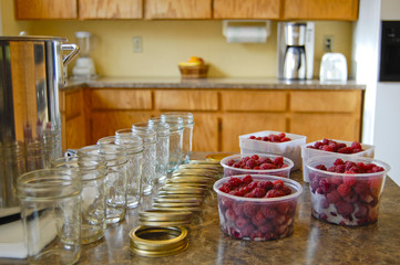 Preparing to make Raspberry Jam