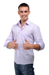 charming young man in jeans