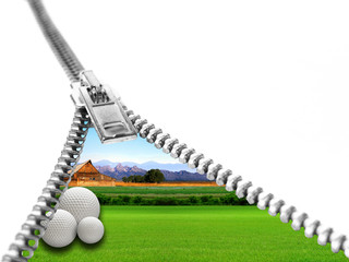 Golf ball on grass in the framework of the zipper