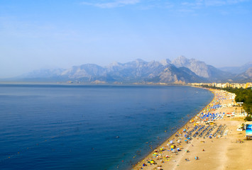 The beach on the Mediterranean Sea. Tauride Mountains