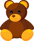 brown-yellow plush bear isolated on white (vector ) poster