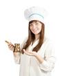 cook girl  holding  cezve