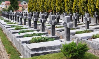 rows of crosses