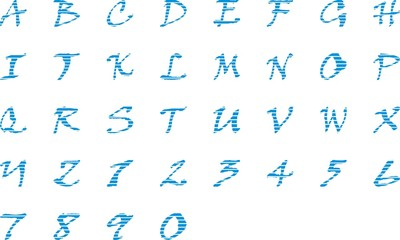 English Alphabets and numerals Fonts