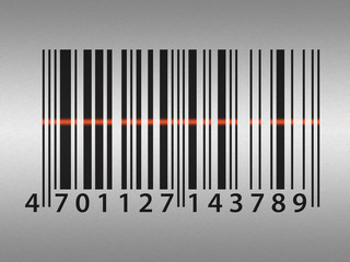 Barcode on stainless steel background