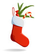 Christmas red sock stuffed with candy and pine branch