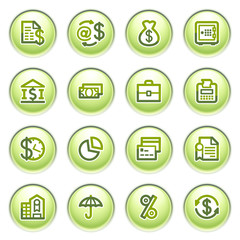 Finance icons on gray buttons.