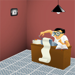 man working in the office - vector illustration