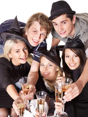 Group young people on party.