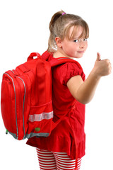 Thumb up girl with red school bag isolated on white