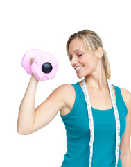 Woman working out with dumbells