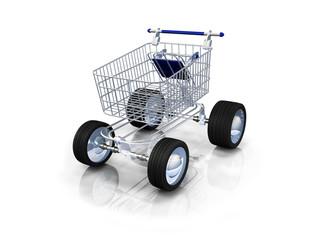 E-commerce caddie livraison express 3D