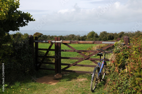 Bicycle by farm gate on Sark