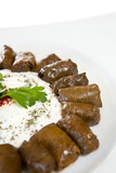Dolmades of vine leaves stuffed with rice