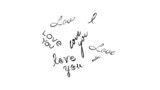 "abstract background with appearing the words ""love you"""