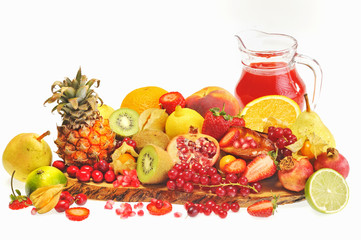 fresh fruits and red juice