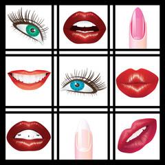 Eyes, lips and nails.
