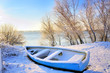 blue boat near danube river