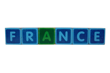 france in toy block letters