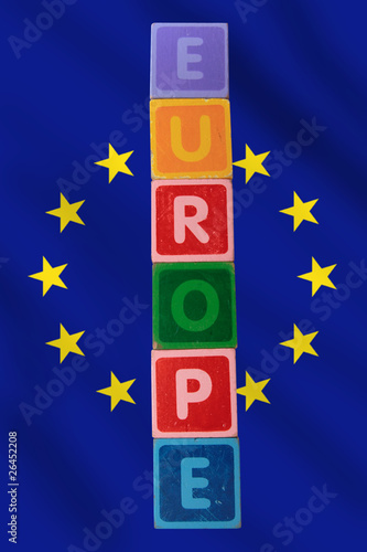europe and flag in toy block letters