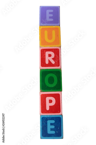 europe in toy letter blocks