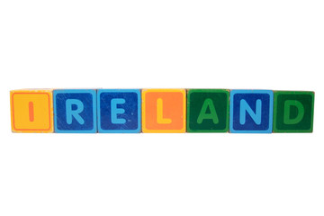 ireland in toy block letters