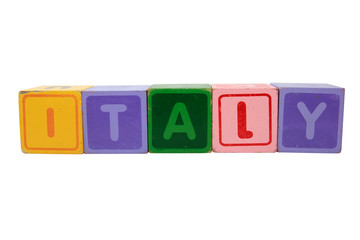 italy in toy block letters