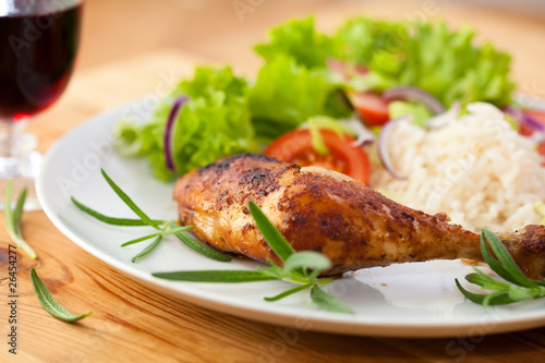 Roast Chicken with Rice and Salad