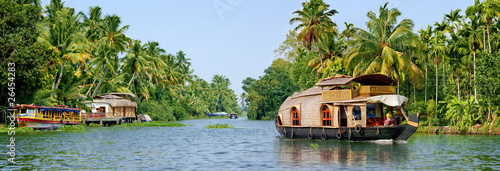 Leinwanddruck Bild backwaters du kerala
