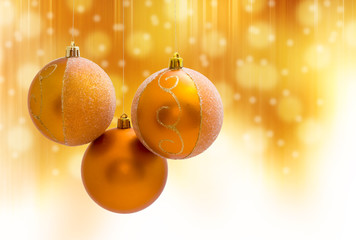 christmas ball decoration on yellow background