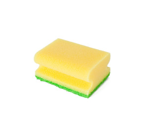 yellow sponge on white background