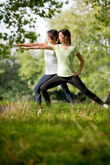 Women stretching outdoors