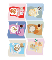 breakfast foods vector illustrations