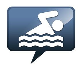 "Speech bubble shaped icon ""Swimming"""